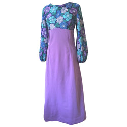 Lilac and flora vintage 1960s empireline maxi dress