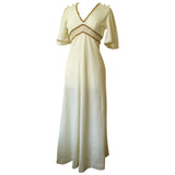 Cream and gold vintage 1970s angel sleeved maxi dress