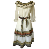 Cream stripe 1970s gypsy day dress with tiered skirt
