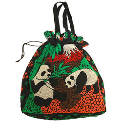Panda bears beaded 1970s colourful drawstring bag