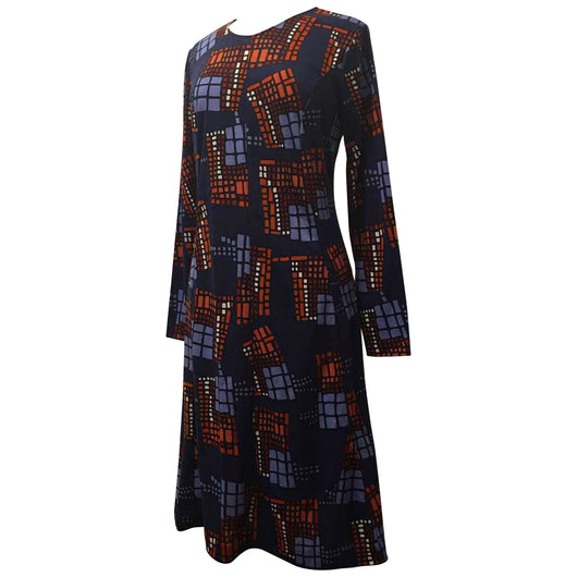 Abstract print royal blue unworn vintage jersey 1970s day dress