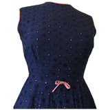 Navy blue and pink broderie anglaise eyelet vintage early 1960s party dress