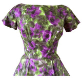 Watercolour floral purple and green cotton 1950s day dress