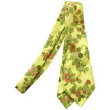 Pale yellow ribbed cotton 1960s vintage pink floral tie - Vintage Clothing, Vintage Stock, Vintage Dresses, Vintage Shoes UK