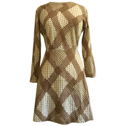Brown and cream abstract check 1960s mod knitted dress