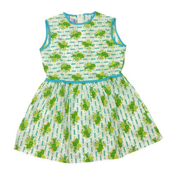 Summer floral print 1960s girls turquoise, green and white day dress