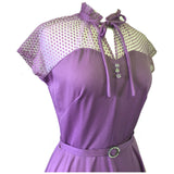 Lilac 1970s belted dotty lace trim vintage dress