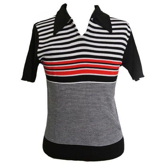 Mod mens red, black and white stripe casual top - Vintage Clothing, Vintage Stock, Vintage Dresses, Vintage Shoes UK