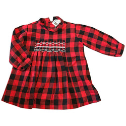 Red and black plaid 1960s baby girls smocked panel dress