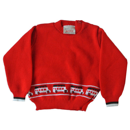 Babies red orlon novelty knit bus jumper Vintage Clothing, Vintage Stock, Vintage Shoes, Vintage Fashion, Retro Fashion Vintage Clothing UK