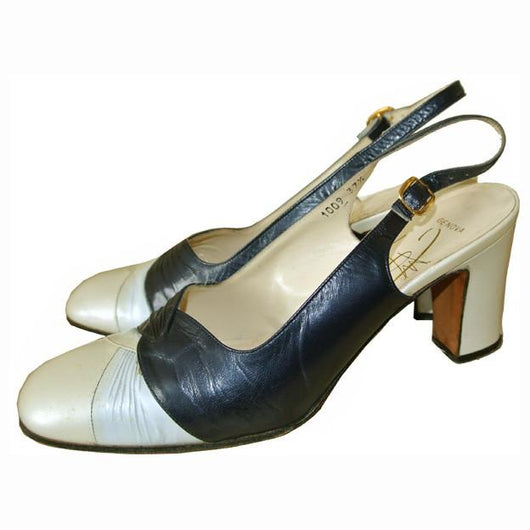 Renata navy blue and pearl leather 1960s slingback shoes - Vintage Clothing, Vintage Stock, Vintage Dresses, Vintage Shoes UK