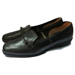 Mod black leather unworn 1960s flat shoes - Vintage Clothing, Vintage Stock, Vintage Dresses, Vintage Shoes UK