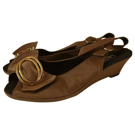 Brown fabric 1980s slingback wedge bow sandals - Vintage Clothing, Vintage Stock, Vintage Dresses, Vintage Shoes UK