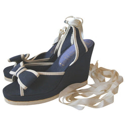 Navy and white bow trim wedge 1970s leg-lacing sandals UK 4 - Vintage Clothing, Vintage Stock, Vintage Dresses, Vintage Shoes UK