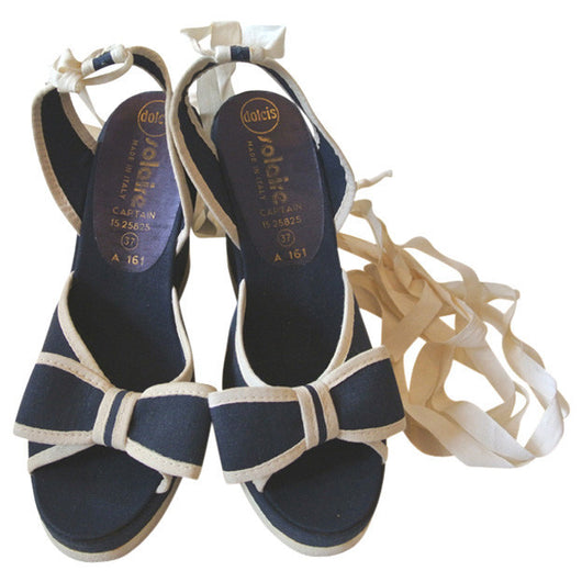Navy And White Bow Trim Wedge 1970s Leg Lacing Sandals Uk