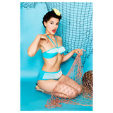 Turquoise blue mesh 1960s unworn hipster bikini - Vintage Clothing, Vintage Stock, Vintage Dresses, Vintage Shoes UK