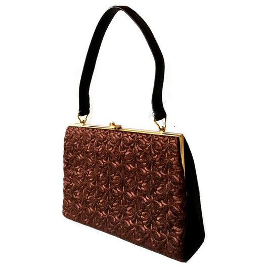 Auburn brown swiss lace vintage 1960s handbag - Vintage Clothing, Vintage Stock, Vintage Dresses, Vintage Shoes UK