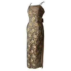 Bronze and brown floral jacquard 1960s evening gown - Vintage Clothing, Vintage Stock, Vintage Dresses, Vintage Shoes UK