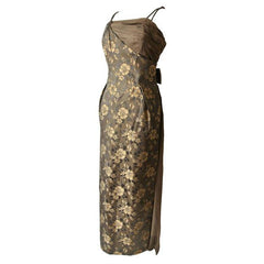 Bronze and brown floral jacquard 1960s evening gown