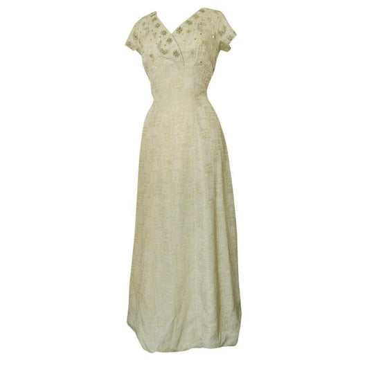 Cream and gold shimmer vintage 1960s beaded evening dress