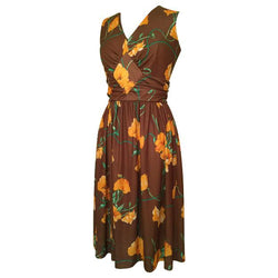 Brown and orange floral diamond panel 1970s dress - Vintage Clothing, Vintage Stock, Vintage Dresses, Vintage Shoes UK