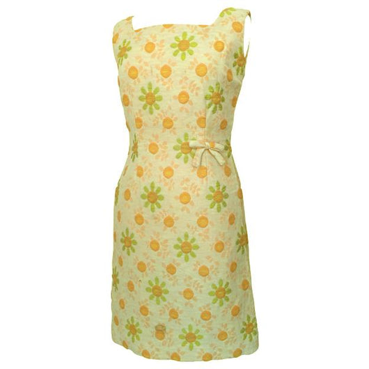 Peach and green daisies vintage 1960s cocktail dress - Vintage Clothing, Vintage Stock, Vintage Dresses, Vintage Shoes UK