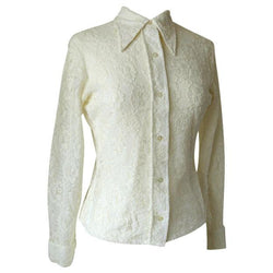 Cream nylon lace 1970s wing collar shirt - Vintage Clothing, Vintage Stock, Vintage Dresses, Vintage Shoes UK