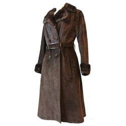 Hippy mod 1970s brown suede and ponyskin belted winter coat - Vintage Clothing, Vintage Stock, Vintage Dresses, Vintage Shoes UK