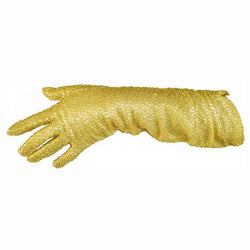 Gold shred lurex vintage 1950s ruched evening gloves size 7 - Vintage Clothing, Vintage Stock, Vintage Dresses, Vintage Shoes UK