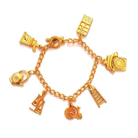 Goldtone metal 1960s bracelet with seven charms - Vintage Clothing, Vintage Stock, Vintage Dresses, Vintage Shoes UK