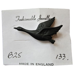 Black metal 1950s flying goose brooch - Vintage Clothing, Vintage Stock, Vintage Dresses, Vintage Shoes UK