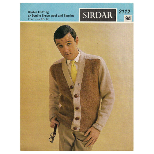 Sirdar mens vintage 1960s two tone cardigan knitting pattern – Candy ...