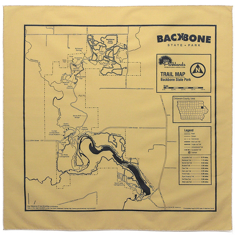 Backbone State Park Trail Map Bandanna