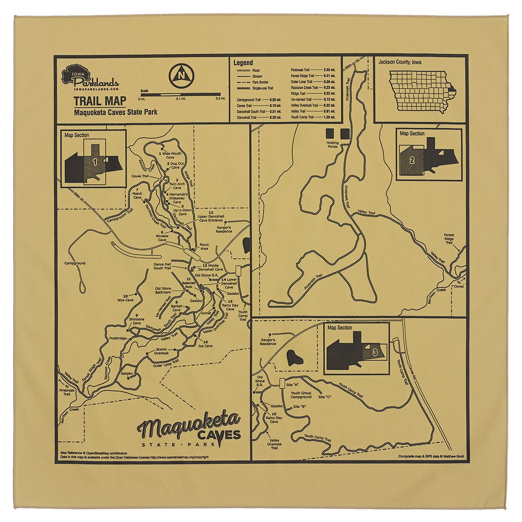 Maquoketa Caves State Park Trail Map Bandanna