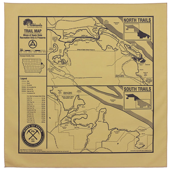 Mines of Spain Recreation Area and Preserve Trail Map Bandanna