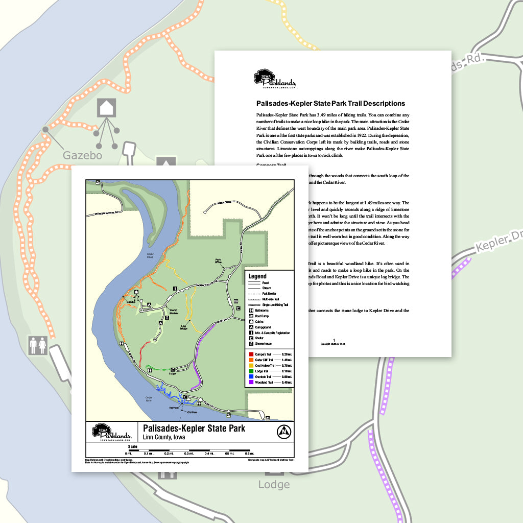 Palisades-Kepler State Park Trail Map Printable Download