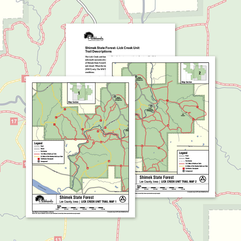Shimek State Forest - Lick Creek Unit Trail Map Printable Download