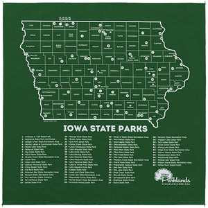 Iowa State Parks Bandanna - Forest Green