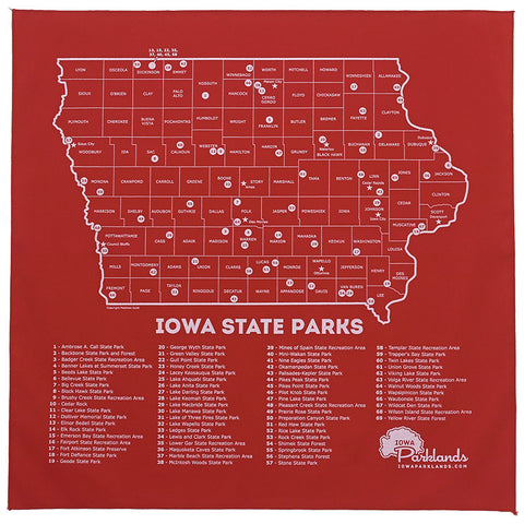Iowa State Parks Bandanna - Red