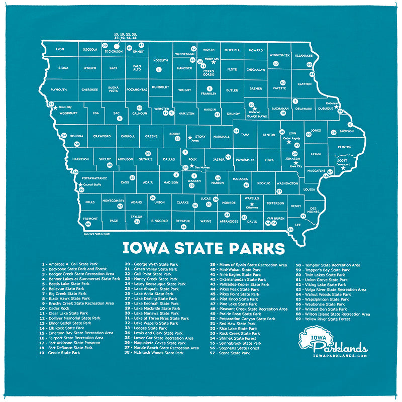 Iowa State Parks Bandanna - Teal