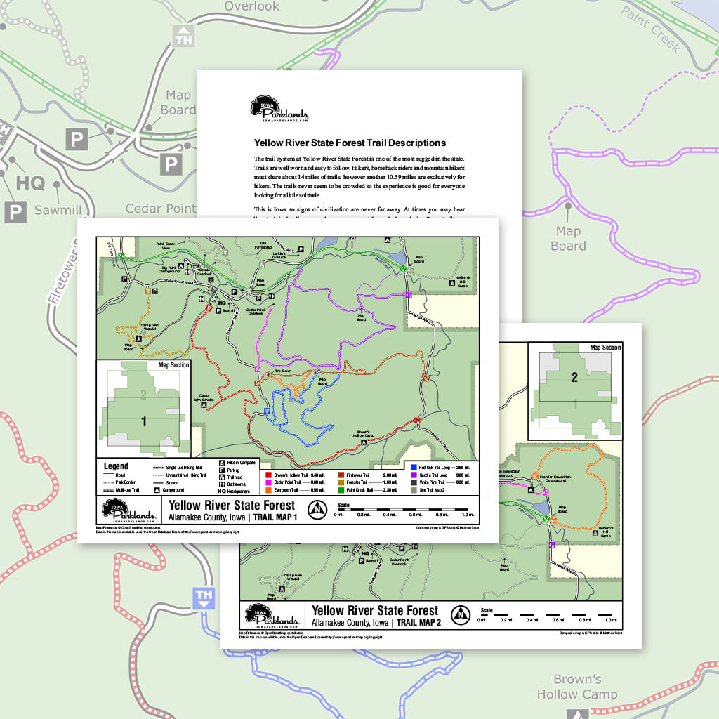 Yellow River State Forest - Paint Creek Unit Trail Map Printable Download