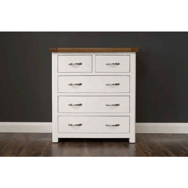 Manhattan-Chest- 5 Drawers- Cream & Oak - Furniture