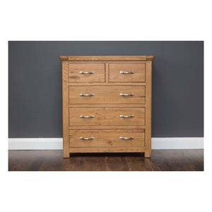 Manhattan-Chest- 5 Drawers- Oak - Furniture