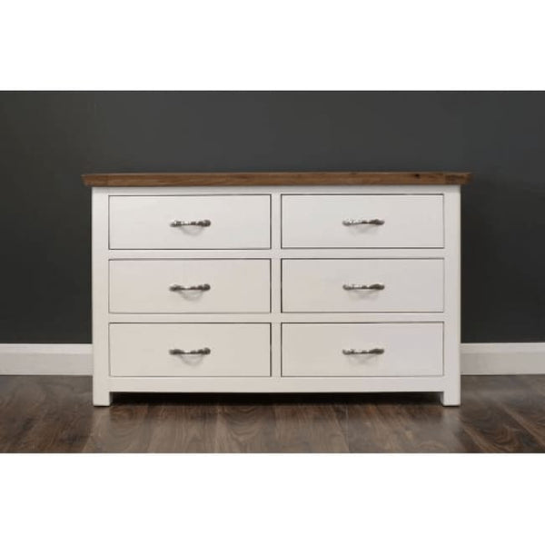 Manhattan- Chest - 6 Drawers - Cream & Oak - Furniture