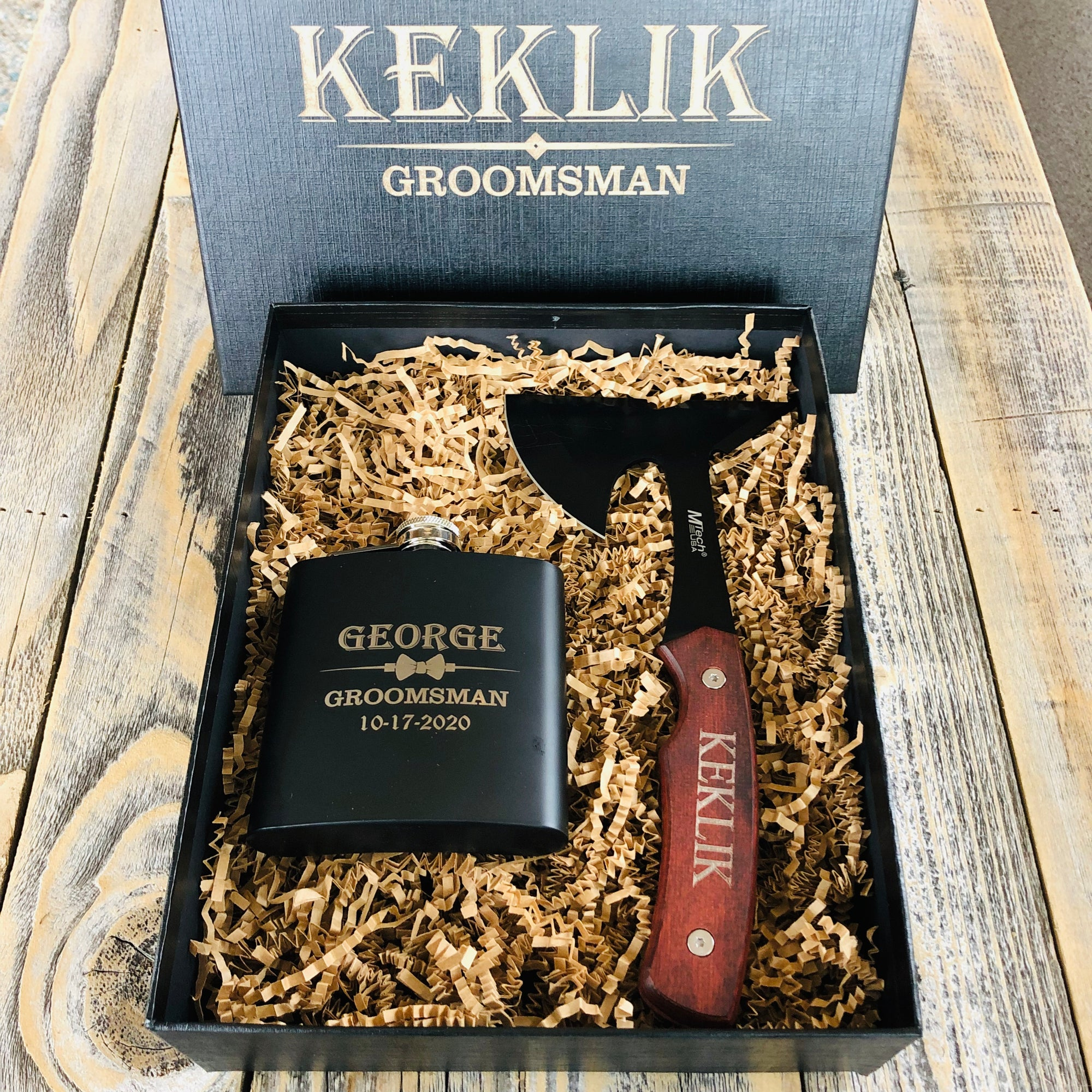 Ax & Flask Groomsmen Box Set