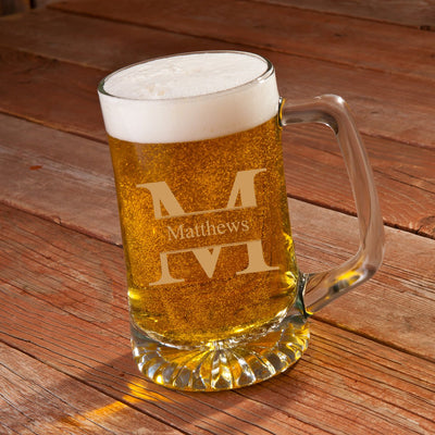 25 oz beer mug engraved with big initial and name