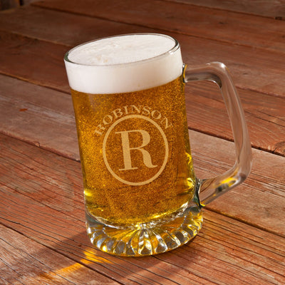 25 oz beer mug engraved with big initial and name in circle