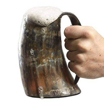 Engraved Horn Shaped Beer Mug