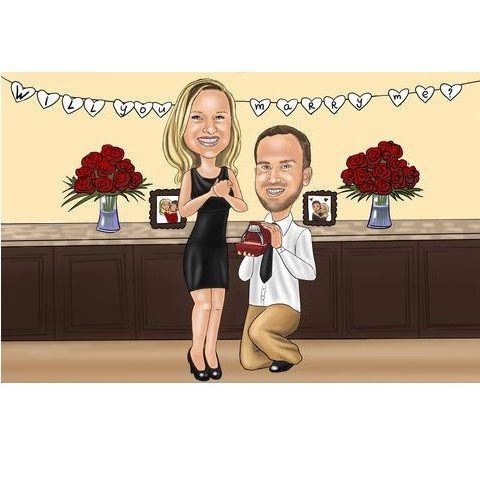 Bar - Engagement Proposal Caricature