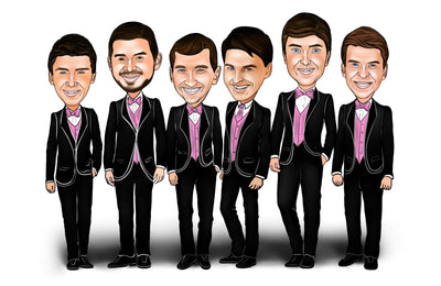Bar - Groomsmen Group Caricature